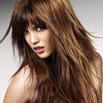 coupe de cheveux femme long degrade avec frange