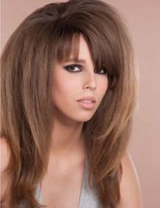 coupe de cheveux long dégradé effilé avec frange